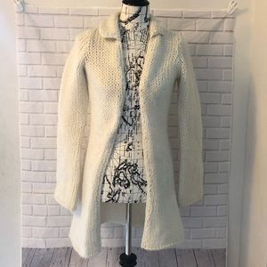 Free People open knit cardigan wool pockets long